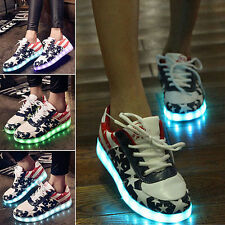 New Unisex LED Light USB Lace Up Luminous Shoes Flag Stars Sport Casual Sneaker