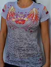 Sinful by Affliction Woman's PALOMA Burnout T-Shirt - S2512 - NEW - Silver Gray