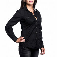 Affliction Women - EAGLE ONE - Long Sleeve Button Down Shirt - NEW - Black