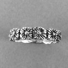 SMALL FLOWER Band Silver Ring-Small Flower  Ring-925 Sterling Silver-Oxidized