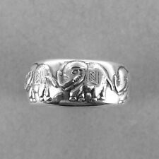 Elephant Silver Ring(C)-Elephant Ring-Band Ring-925 Sterling Silver-Oxidized