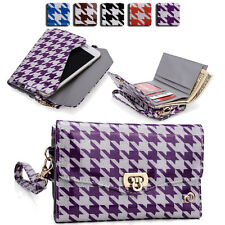 Womens Houndstooth Wallet Case Clutch Cover for Smart Cell Phones by KroO MLPK10