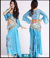 New Sexy Belly Dance Embroidered Diamond Top+Diamond Skirt Dancing Dress Costume