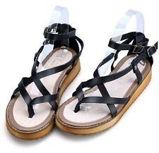 womens thongs roman strappy ankle strap buckle leather flat sandals casual shoes