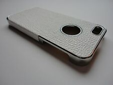 New Deluxe White Leather Chrome Hard Skin Cover Case For iPhone 5 and iPhone 5s