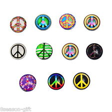 Gift Wholesale Snap Buttons Fit Snap Bracelet Peace Symbol Pattern 18mm Mixed