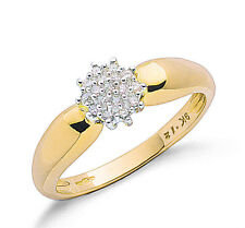 9ct Yellow Gold Real Diamond Rounds Cluster Ring 0.13ctw