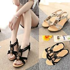 Womens Summer Bohemia Slippers Flip Flops Flat Sandals Beach Peep-toe Shoes