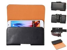 7 Size Universal Black Leather Horizontal Belt Clip Holster Pouch Case Fr Phones