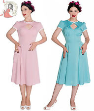 HELL BUNNY 40s NELL wartime tea DRESS landgirl PINK TURQUOISE