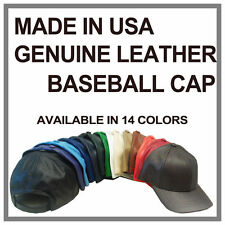 PLAIN GENUINE LEATHER BASEBALL CAPS 14 COLORS MADE IN USA