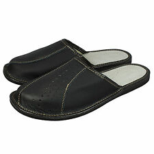 Mens Natural Leather Slippers, Flip Flops Mules, Black Size 7-12