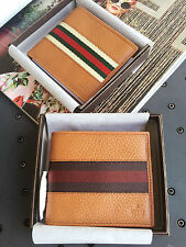 New Authentic GUCCI Mens Leather Bifold Wallet with Web detail, 2 Colors, 231845