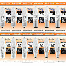 HALOGEN CANDLE ENERGY SAVING DIMMABLE BULBS BC SBC ES SES LIGHT LONG LIFE LAMPS