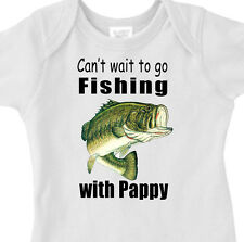 """CAN'T WAIT TO GO FISHING WITH PAPPY"" BASS FISHING Infant Tee or Youth T-Shirt"
