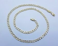 """10K Diamond Cut Two Tone Gold Cuban Link Chain Necklace 3.5MM 18"""" - 24 inches"""