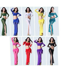 belly dance costume suit outfit  Sexy Tops long+pant Dancing Dress Costume
