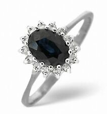 9K White Gold 0.14ct Diamond & 0.95ct Sapphire Ring Size K - S Made in London