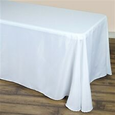 90 X 132 White Rectangle Polyester Tablecloth For Wedding Party & Restauran
