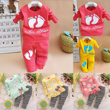 2PCS Toddler Kids Baby Girls Long Sleeve Outfits T-shirt Tops +Pants Clothes Set