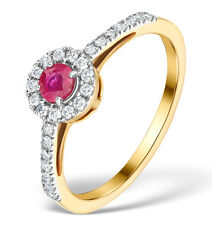 Yellow Gold Ruby & 0.25ctw Diamond Ring Size K - S Made in London