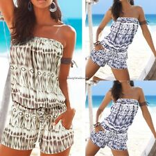 Sexy Women Summer Slash Neck Off Shoulder Print Short Jumpsuit Playsuit ESY1