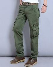 Mens outdoor overalls straight leg loose work cargo pants pockets trousers