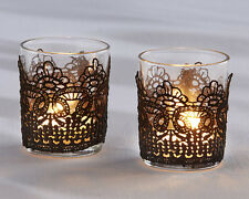 Black Lace Glass Votive Tea Light Candle Holder Anniversary Bridal Wedding Favor