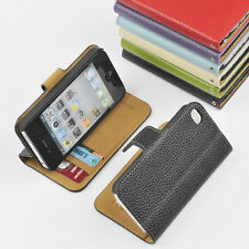 iPhone 4 4S GENUINE LEATHER Wallet Card Holder+Pouch Stand Flip Case Cover 4S-OC