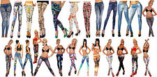 New Sexy Womens Leggings Fashion tattoo Galaxy flower  jeans look Fit Size 6-12