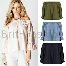 Womens Ladies Celeb Style OFF THE SHOULDER 3/4 Sleeve PLAIN FRILL CREPE TOP