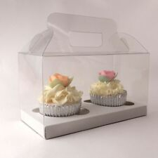 Clear cupcake boxes for 2 cupcakes with handle: - premium quality - 1  | 10