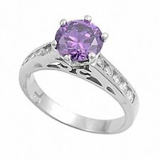 Solitaire Wedding Engagement Ring 925 Sterling Silver 2CT Amethyst White Topaz