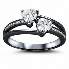 Promise Ring Solid Sterling Silver 1.50 Ct Black Gold Shape White Russian CZ