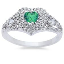 Halo Dazzling Promise Ring 925 Sterling Silver 0.25CT Emerald Green Russian CZ
