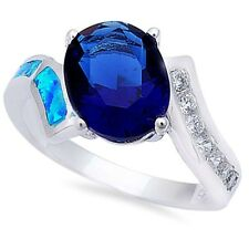 Sideways Wedding Engagement Ring Sterling Silver 2Ct Sapphire Blue Opal Clear CZ