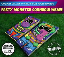 Party Monster Cornhole Vinyl Decals, Bag Toss Illustrated Custom Board Wraps
