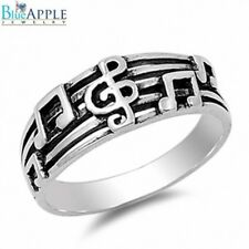 Music Note Clef Key Lucky Band Ring Solid 925 Sterling Black Oxidize Gift