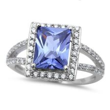Halo Wedding Engagement Ring Sterling Silver 2.62CT Tanzanite Round Clear CZ