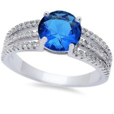 Solitaire Accent Wedding Engagement Ring Sterling Silver Blue Sapphire White CZ