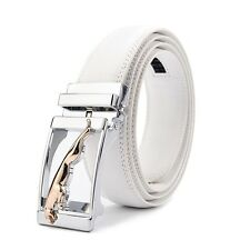 New Luxury Jaguar Automatic Buckle Belt White Leather Strap For Men Jeans Gift