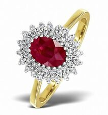 9k Gold 0.30ctw Diamond & Ruby Cluster Ring Sizes F - Z Made in London