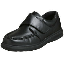 Hush Puppies GIL Mens Black Leather Comfort Strap Dress Shoes
