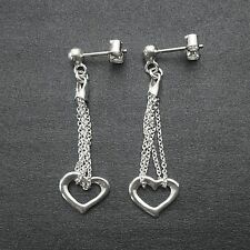 Solid 925 Sterling Silver Heart Dangle Earrings-Polished