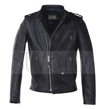Men's Biker Vintage Motorcycle Cafe Racer Hybrid Real Steerhide Leather Jacket