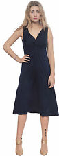 DARK BLUE WOMENS SLEEVELESS VNECK MIDI EVENING DRESS PARTY COCKTAIL SUMMER DRESS
