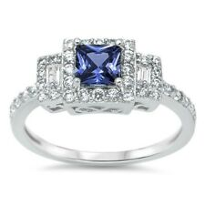 3 Stone Wedding Engagement Ring Sterling Silver 1.20Ct Blue Sapphire Russian CZ