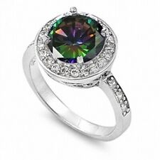 Dazzling Wedding Engagement Ring 5ct Rainbow Topaz Russian CZ Sterling Silver