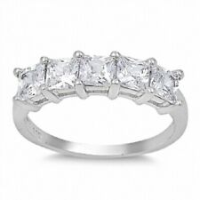 Five Stone Ladies Wedding Engagement Ring 925 Sterling Silver 2.20 Ct Russian CZ