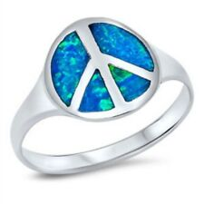 Round Peace Sign Ring 925 Sterling Silver Blue Lab Fire Australian Opal Inlay